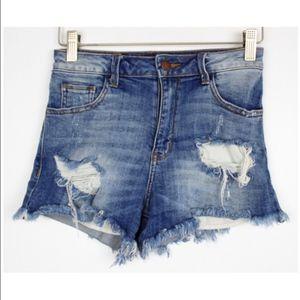 Fashion Nova Distressed Cut Off High Waist Shorts